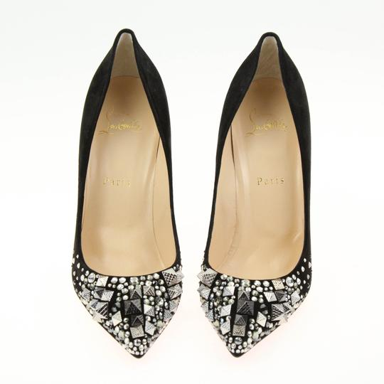 Christian Louboutin Made In Italy Luxury Designer Red Sole Pointed Toe Crystal Embellished Black Pumps Image 4