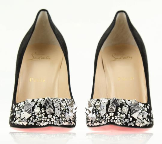Christian Louboutin Made In Italy Luxury Designer Red Sole Pointed Toe Crystal Embellished Black Pumps Image 5