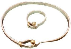 Tiffany & Co. Silver and Gold Hook & Eye SET bracelet and ring