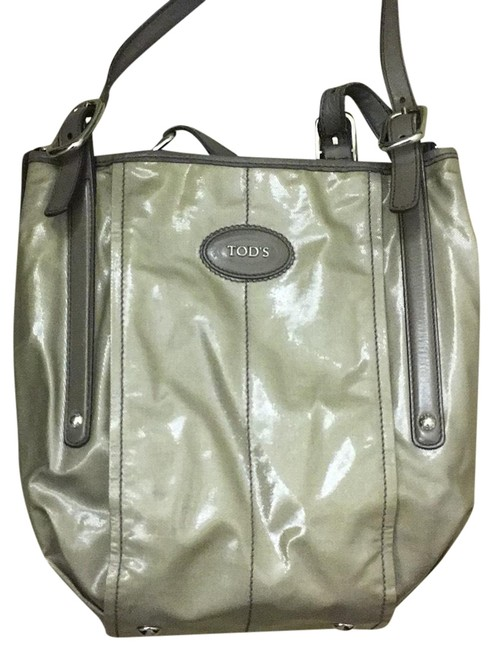 Tod's Pewter Coated Canvas Hobo Bag Tod's Pewter Coated Canvas Hobo Bag Image 1