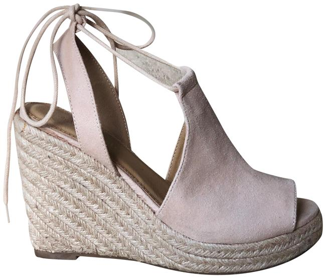 Altar'd State Ivory Suede Espadrille Tie-up Wedges Size US 6 Regular (M, B) Altar'd State Ivory Suede Espadrille Tie-up Wedges Size US 6 Regular (M, B) Image 1