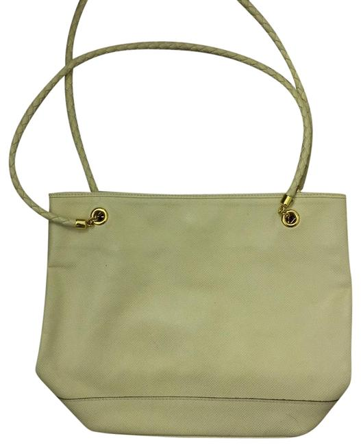 Item - Cream with Gold Accents Leather Tote