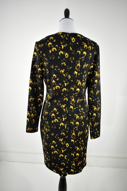 Theory Floral Longsleeve Stretchy Polyester Flower Dress Image 1