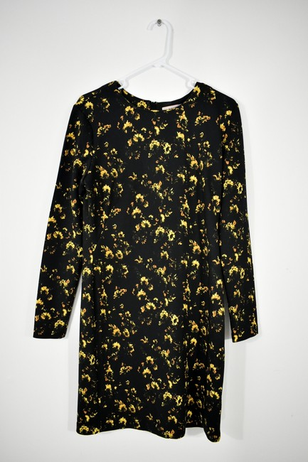 Theory Floral Longsleeve Stretchy Polyester Flower Dress Image 3