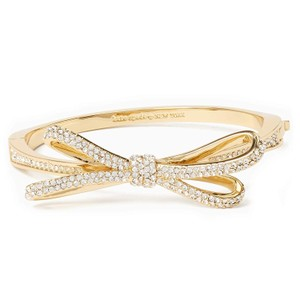 Kate Spade Tied Up Pave Bow Bangle, Clear/Gold