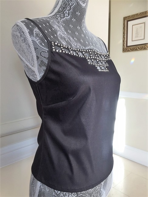Gerard Feraud Crystal Embroidered Sleeveless Date Top Gunmetal Image 1
