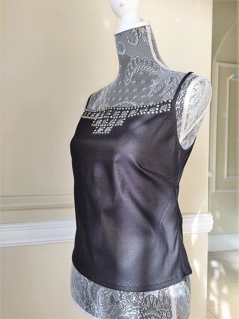 Gerard Feraud Crystal Embroidered Sleeveless Date Top Gunmetal Image 2