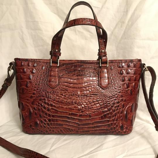 Brahmin Purse Handbag Tote Cross Body Shoulder Satchel in Brown Gold Image 1