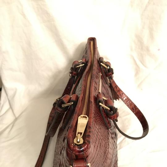 Brahmin Purse Handbag Tote Cross Body Shoulder Satchel in Brown Gold Image 2