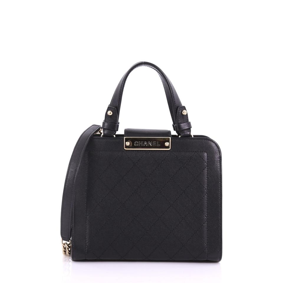 bb873adc6343 Chanel Shopping Label Click Quilted Calfskin Small Black Leather ...
