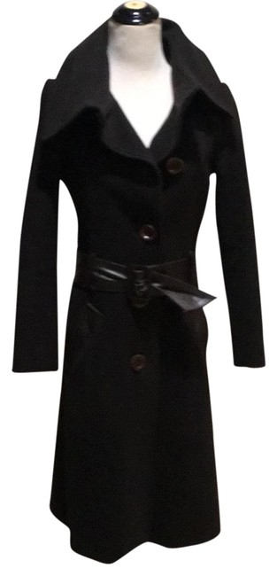 Item - Dark Chocolate Leather Trim Wool Belted Coat Size 2 (XS)