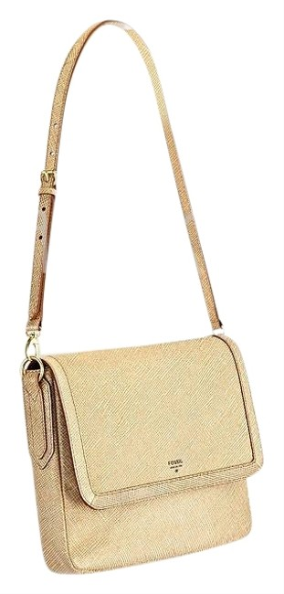 Fossil Zb5485 Sydney Flap Gold Leather Shoulder Bag Fossil Zb5485 Sydney Flap Gold Leather Shoulder Bag Image 1