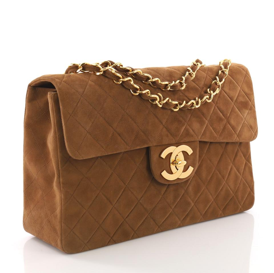 724b0c7538c494 Chanel Classic Flap Vintage Classic Single Quilted Maxi Brown Suede  Shoulder Bag - Tradesy