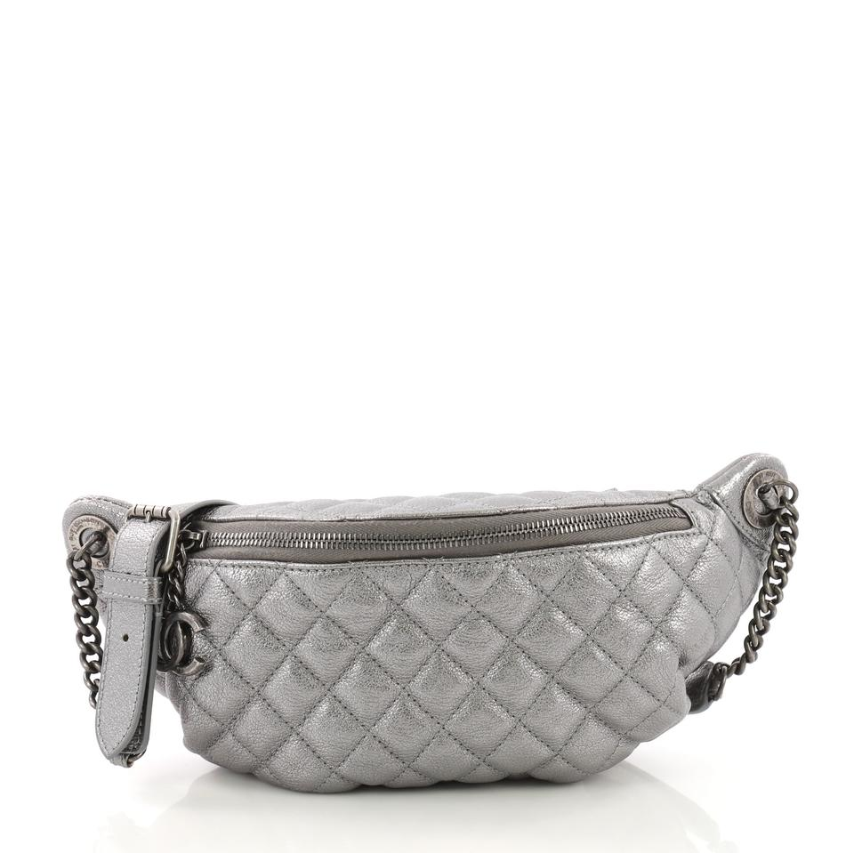 5dbbbee28ffa Chanel Waist Bag Banane Quilted Silver Leather Shoulder Bag - Tradesy