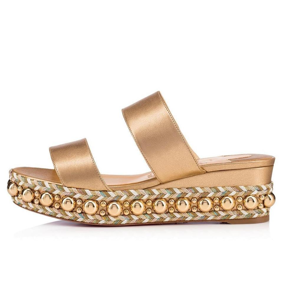 73a5b1629a4 Christian Louboutin Gold Janitag Studded Wedge Slides Mules Sandals  Platforms