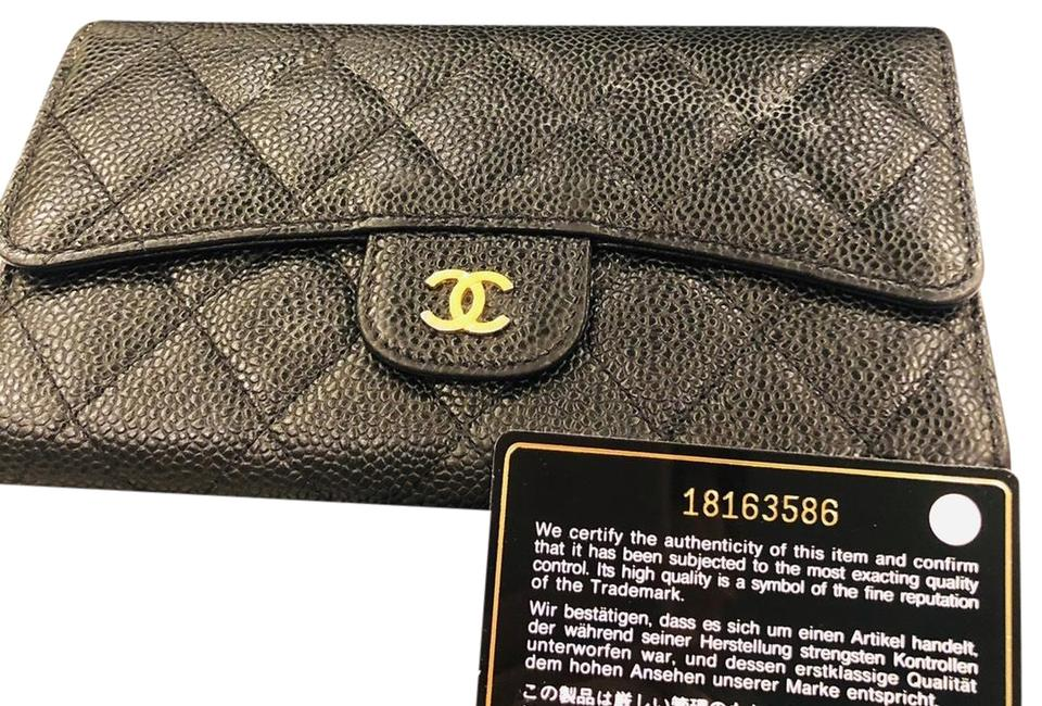e5d4078179ca Chanel Black Classic Flap Grained Calfskin & Gold-tone Wallet - Tradesy