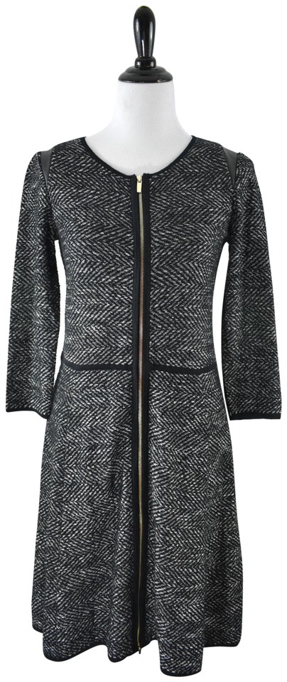 a85543ee627 Ann Taylor Gray Black Tweed Zipper Herringbone Fit and Flare Sweater  Work Office Dress