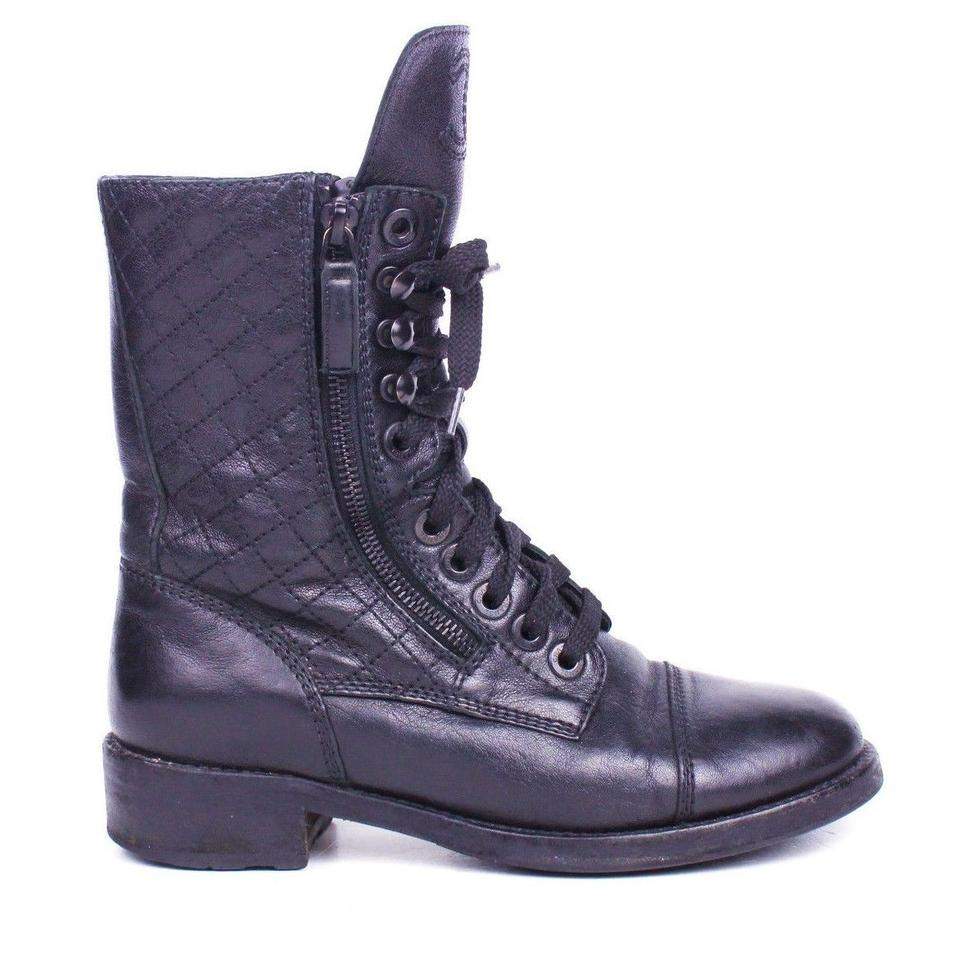 Chanel Black Cc Combat Leather Tall Moto Quilted Logo