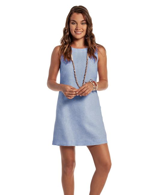Item - Blue Andros Button Shift Mid-length Short Casual Dress Size 4 (S)