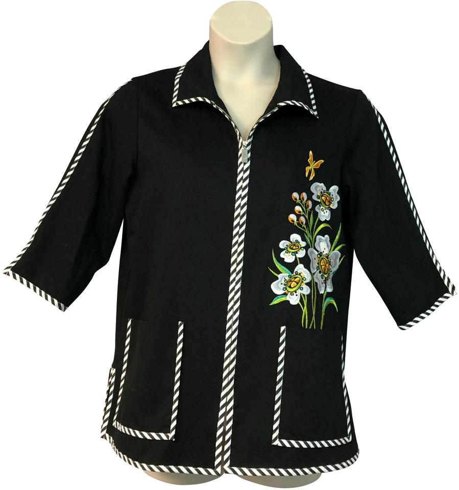 b0328d1ca171a Bob Mackie Black Floral Embroidered Cotton M Blouse Size 8 (M) - Tradesy