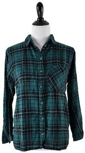 Urban Outfitters Plaid Lace Pocket Hipster Preppy Button Down Shirt green, black