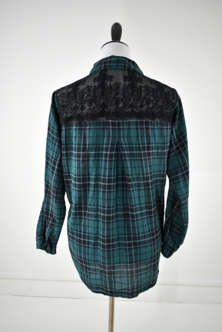 Urban Outfitters Plaid Lace Pocket Hipster Preppy Button Down Shirt green, black Image 1