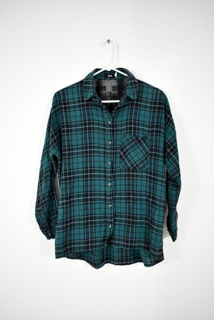Urban Outfitters Plaid Lace Pocket Hipster Preppy Button Down Shirt green, black Image 2