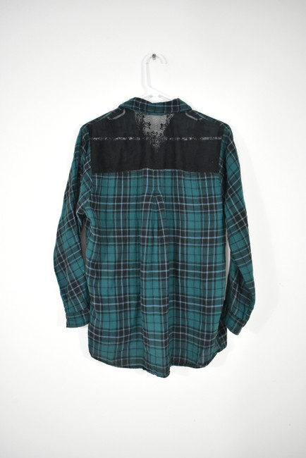 Urban Outfitters Plaid Lace Pocket Hipster Preppy Button Down Shirt green, black Image 3