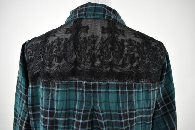 Urban Outfitters Plaid Lace Pocket Hipster Preppy Button Down Shirt green, black Image 4