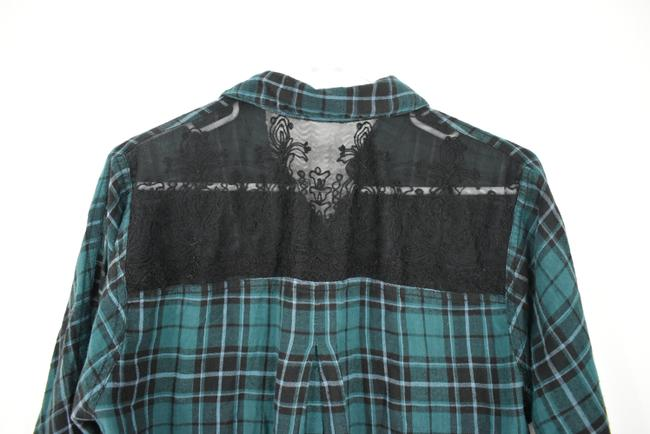 Urban Outfitters Plaid Lace Pocket Hipster Preppy Button Down Shirt green, black Image 5