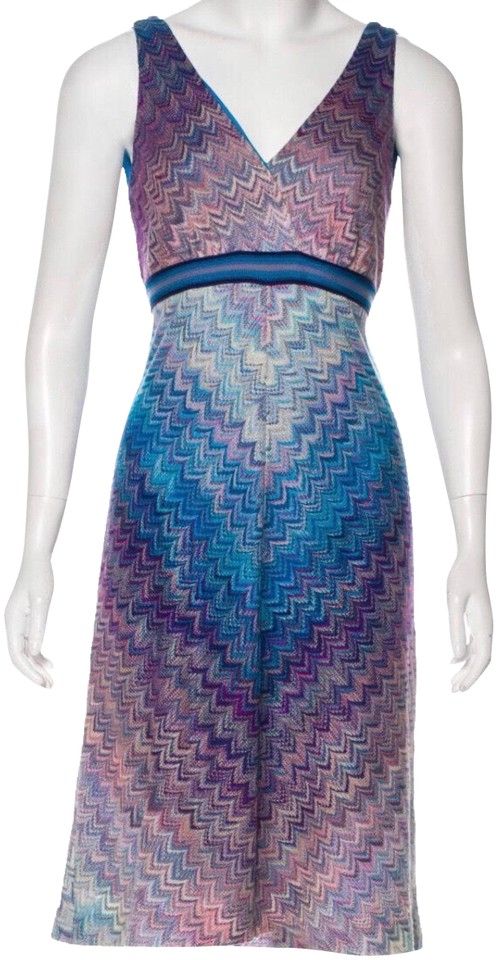d0f3366c2e75 Missoni Purple Patterned Midi Mid-length Cocktail Dress Size 4 (S ...