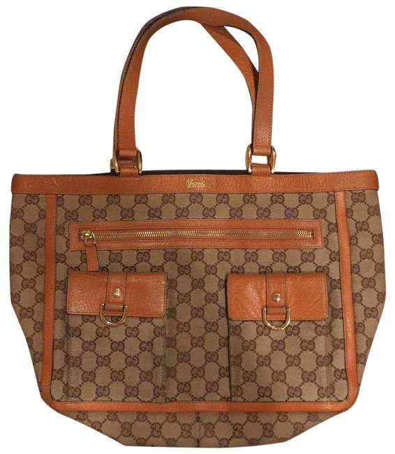 Gucci Tote Brown Canvas and Leather Shoulder Bag Gucci Tote Brown Canvas and Leather Shoulder Bag Image 1