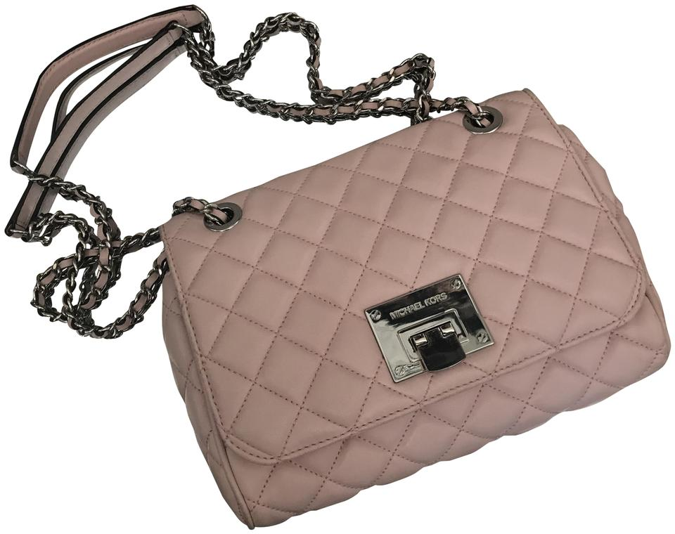 b3973f6a5f35 Michael Kors Quilted Purse Light Pink Lambskin Leather Cross Body ...