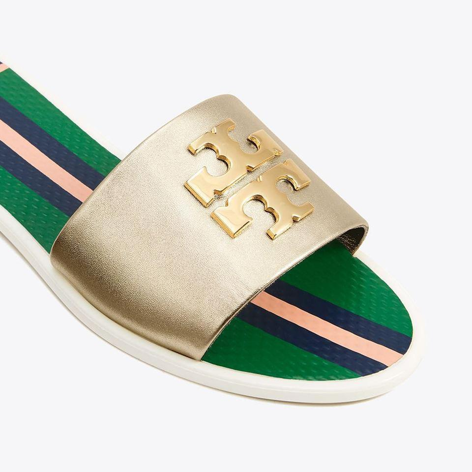 2828eaa26 Tory Burch Spark Gold Women s Logo Jelly Slide Sandals Flats Size US ...