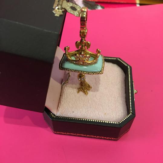 Juicy Couture NWT! JUICY COUTURE SUPER RARE PAV STONE TEAL CROWN PILLOW CHARM FOR YOUR NECKLACE OR BRACELET!! Image 1