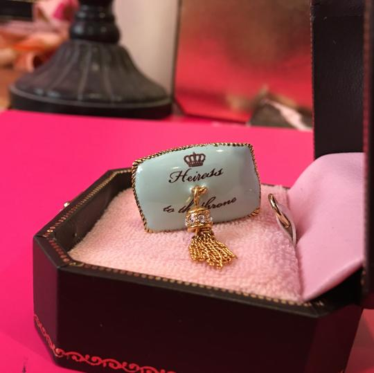 Juicy Couture NWT! JUICY COUTURE SUPER RARE PAV STONE TEAL CROWN PILLOW CHARM FOR YOUR NECKLACE OR BRACELET!! Image 3