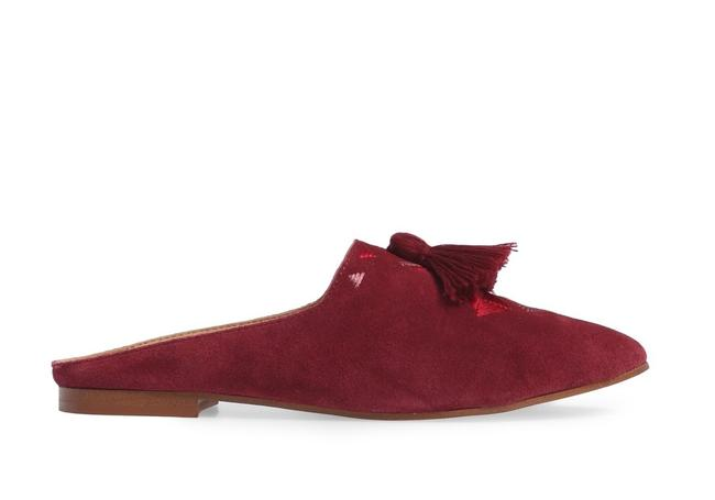 Soludos Wine Embroidered Mule Flats Size US 7 Regular (M, B) Soludos Wine Embroidered Mule Flats Size US 7 Regular (M, B) Image 1