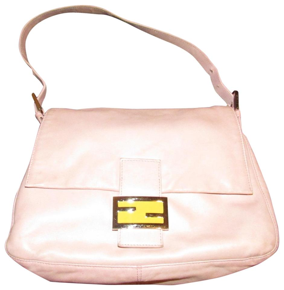6acc51dd86e5 Fendi Mamma Zucco Style Purses/Designer Purses Pink Lambskin Leather and  Chrome and Yellow Enamel Ff Logo Clasp Shoulder Bag