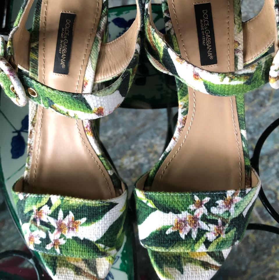 9af5ad4723f30 Dolce&Gabbana Green Multi White Floral Wedge Sandals Size EU 37 (Approx. US  7) Regular (M, B) - Tradesy
