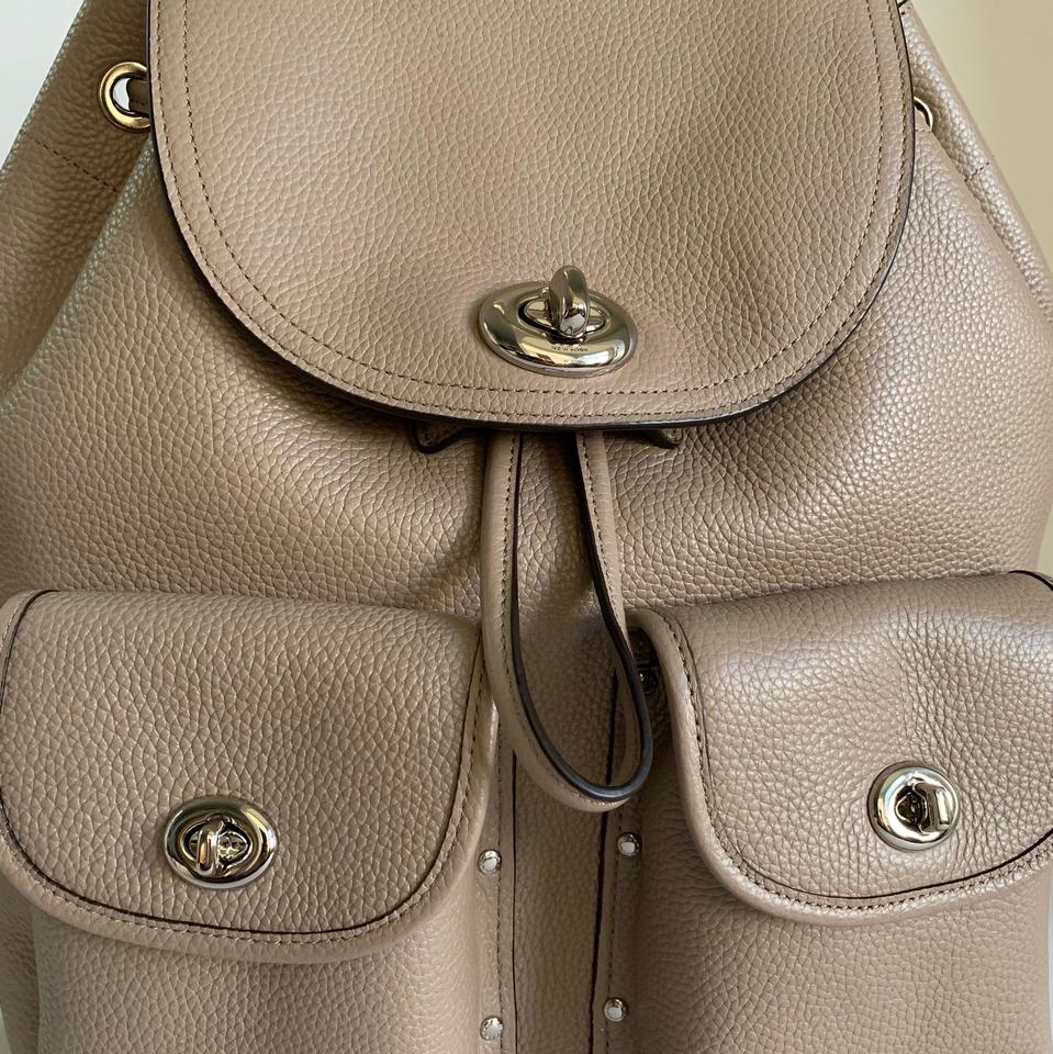 83c8a8289 Coach Pebble Rucksack Turnlock Silver/Stone Leather Backpack - Tradesy