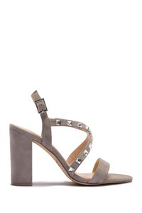Badgley Mischka Satin Embellished grey SUEDE Sandals