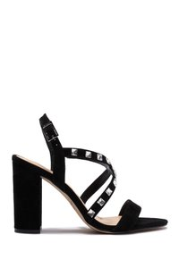 Badgley Mischka Satin Embellished BLACKSUEDE Sandals