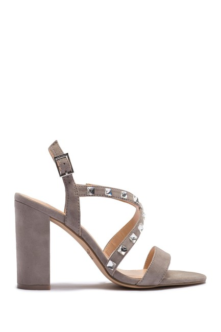 Badgley Mischka Grey Suede Studded Crisscross Sandals Size US 6 Regular (M, B) Badgley Mischka Grey Suede Studded Crisscross Sandals Size US 6 Regular (M, B) Image 1