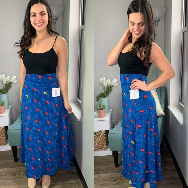 LuLaRoe Umbrella Unicorn Maxi Skirt Blue Image 1