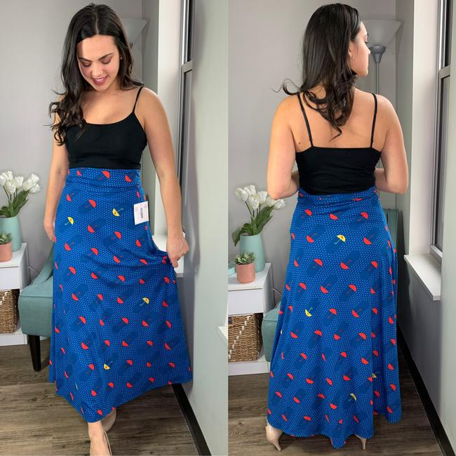 LuLaRoe Umbrella Unicorn Maxi Skirt Blue Image 2