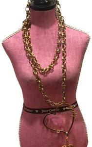 Juicy Couture NEW! JUICY COUTURE 2005 Long Gold Link NECKLACE with RARE HEART SPINNER CHARM!!
