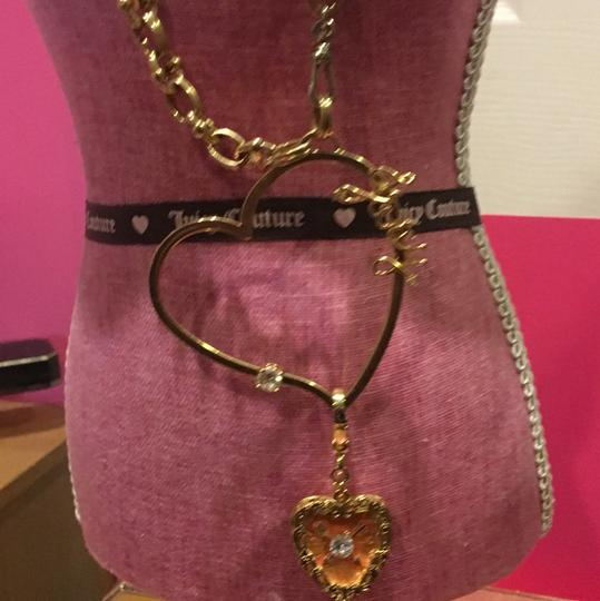 Juicy Couture NEW! JUICY COUTURE 2005 Long Gold Link NECKLACE with RARE HEART SPINNER CHARM!! Image 1