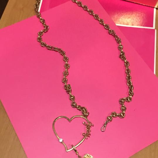 Juicy Couture NEW! JUICY COUTURE 2005 Long Gold Link NECKLACE with RARE HEART SPINNER CHARM!! Image 4
