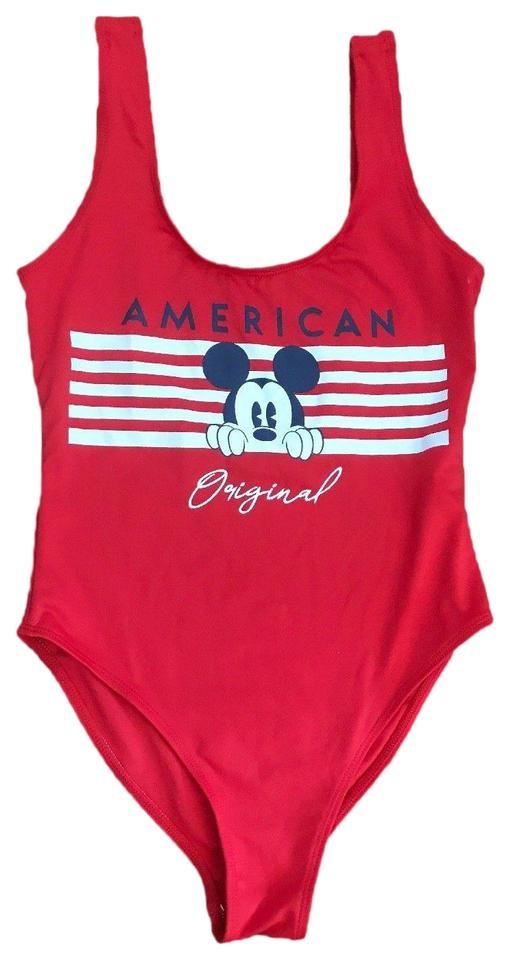 92c38df4aa Disney Red Mickey Mouse Junior Bodysuit One-piece Bathing Suit Size ...