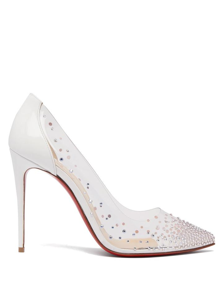 01364fe85c2 Christian Louboutin White Degrastrass 100 Crystal-embellished Pumps ...